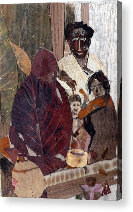 Group Portrait Acrylic Print featuring the mixed media Needy Family by Basant Soni
