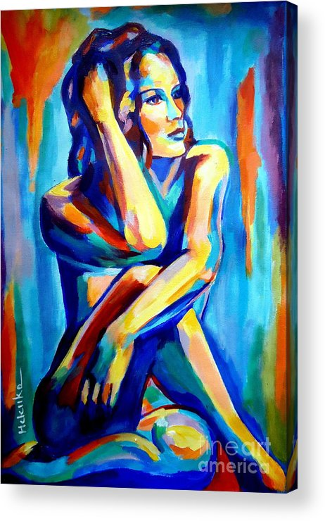 Nude Figures Acrylic Print featuring the painting Pensive Figure by Helena Wierzbicki
