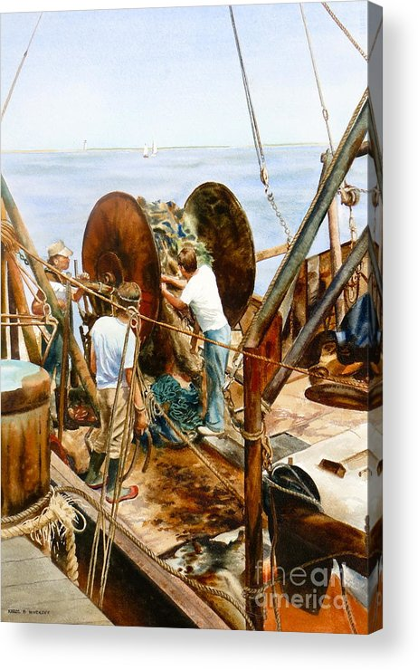 Fishermen Acrylic Print featuring the painting Preparing The Nets by Karol Wyckoff