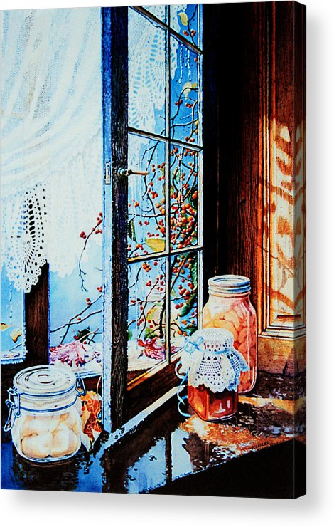 Still Life Art Acrylic Print featuring the painting Preserving The Harvest by Hanne Lore Koehler