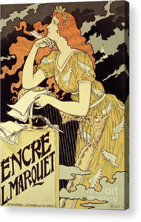 Advert; Advertisement; Letter; Writing; Ink Well; Harp; Quill; Thinking; Pensive; Encre L; Marquet; Art Nouveau; Female Acrylic Print featuring the drawing Reproduction Of A Poster Advertising 'marquet Ink' by Eugene Grasset