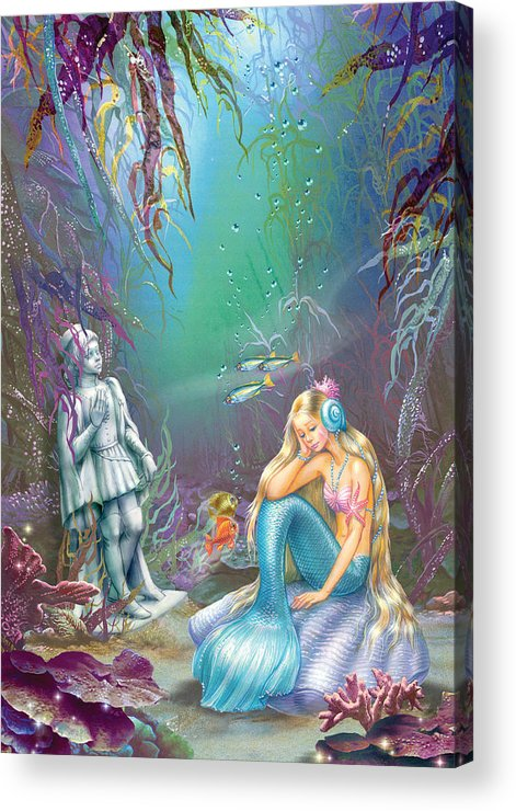 Sad Little Mermaid Acrylic Print featuring the photograph Sad Little Mermaid by Zorina Baldescu