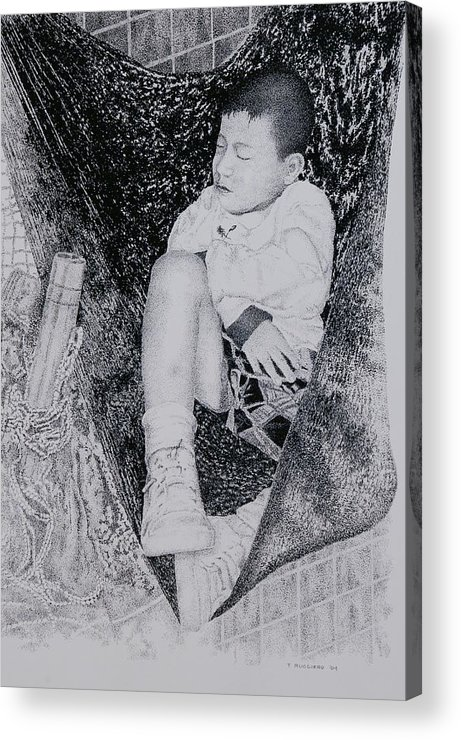 Tot Child Sleeping Boy Acrylic Print featuring the painting Safety Net by Tony Ruggiero