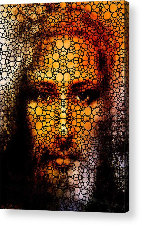 Jesus Acrylic Print featuring the painting Savior - Stone Rock'd Jesus Art By Sharon Cummings by Sharon Cummings