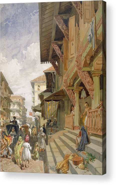 Indian Acrylic Print featuring the drawing Street In Bombay, From India Ancient by William 'Crimea' Simpson
