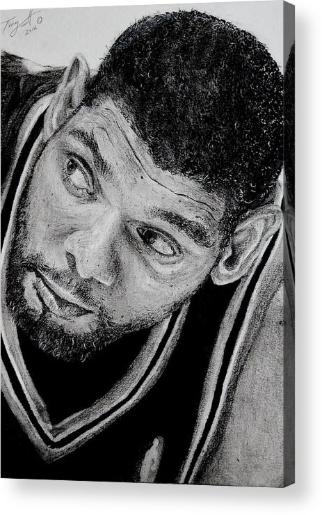 Tim Duncan Acrylic Print featuring the drawing Tim Duncan Drawing The Champ Is Here by Tony Orcutt