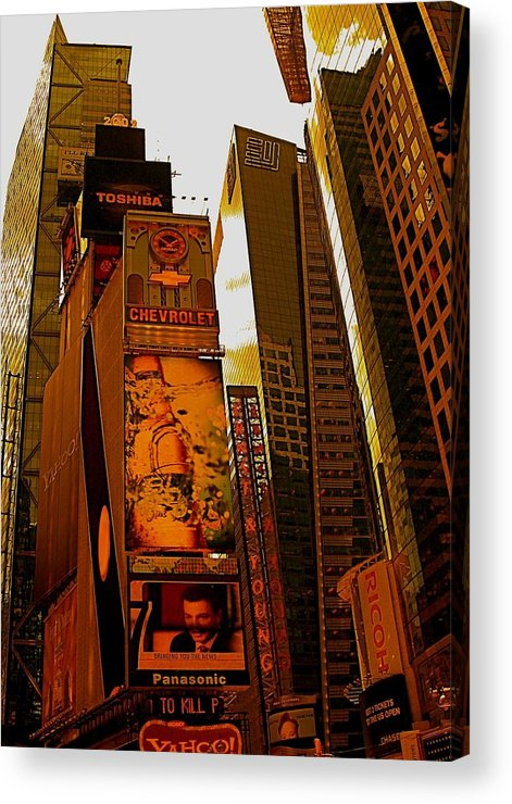 Manhattan Posters And Prints Acrylic Print featuring the photograph Times Square In Manhattan by Monique's Fine Art