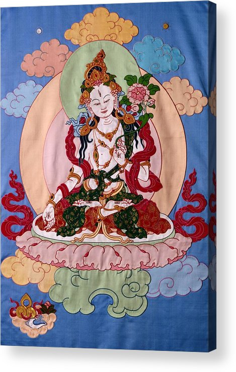 Longevity Acrylic Print featuring the tapestry - textile White Tara by Leslie Rinchen-Wongmo