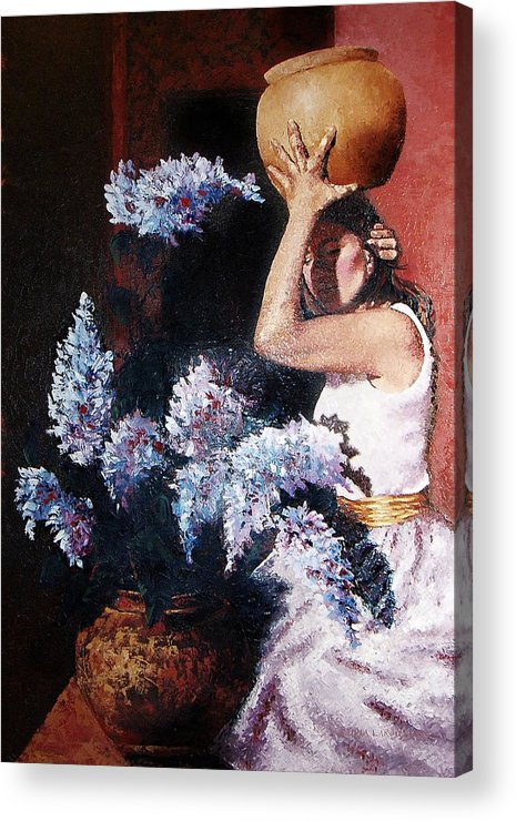 Flowers Acrylic Print featuring the painting Woman With Flowers by Claudia Lardizabal
