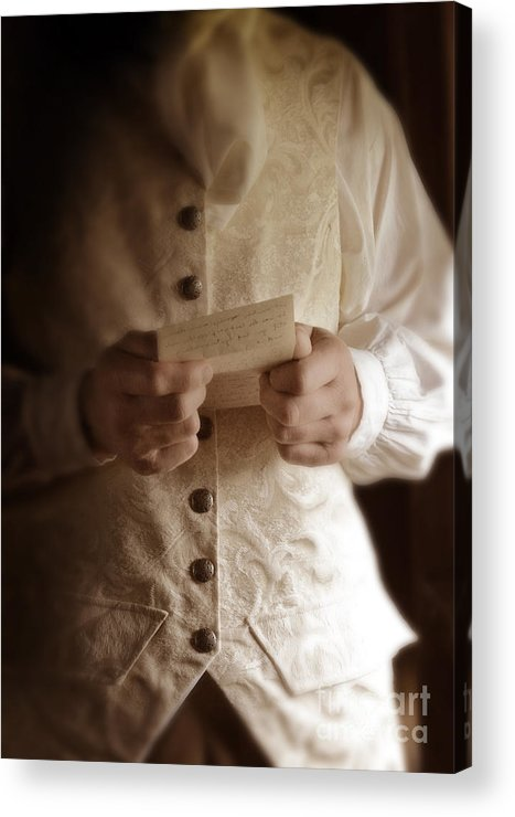 Gentleman Acrylic Print featuring the photograph Gentleman In Vintage Clothing Reading A Letter by Jill Battaglia