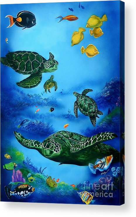 Turtles Acrylic Print featuring the painting The Beauty Below by Kathleen Kelly Thompson
