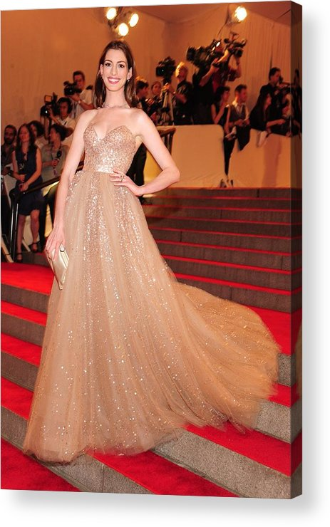Anne Hathaway Acrylic Print featuring the photograph Anne Hathaway Wearing A Valentino Gown by Everett