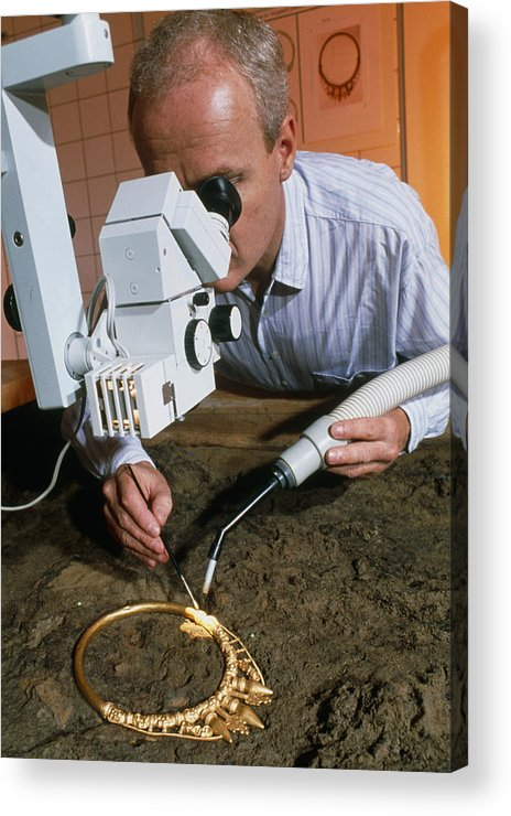 Celtic Necklace Acrylic Print featuring the photograph Archaeologist Cleaning A Golden Celtic Necklace by Volker Steger