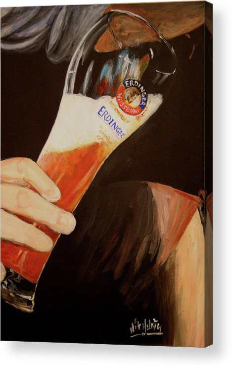Beer Acrylic Print featuring the painting Art Of Erdinger by Nik Helbig