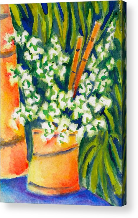 Flowers Acrylic Print featuring the painting Bamboo Vase by Laura Shepardson