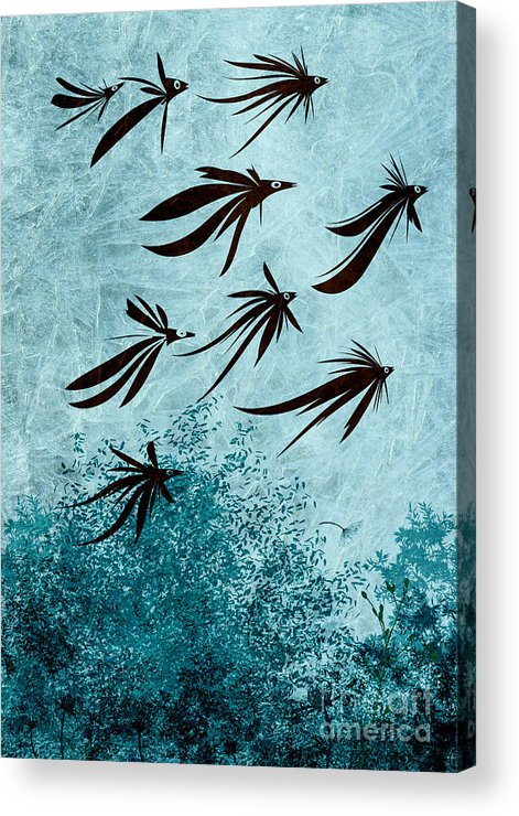 Birds Acrylic Print featuring the digital art Birdeeze -v03 by Variance Collections
