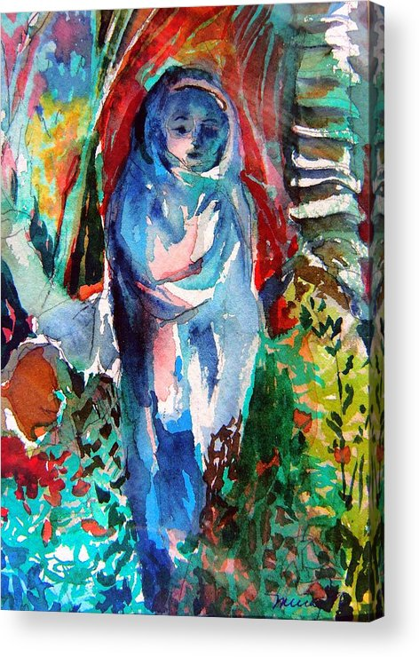 Mary Acrylic Print featuring the painting Blue Madonna by Mindy Newman