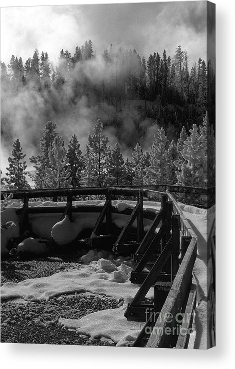 Sandra Bronstein Acrylic Print featuring the photograph Bridge In Mud Volcano Area by Sandra Bronstein