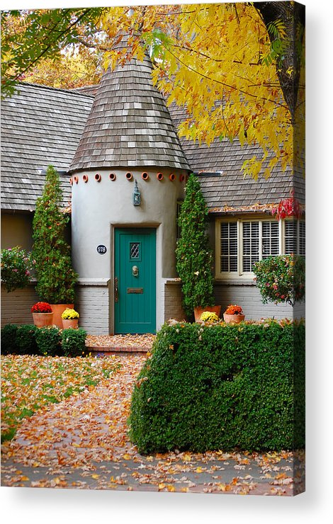 Cottage Home Park Bidwell Chico Ca Idyllic Charming Fall Colors Acrylic Print featuring the photograph Cottage In The Park by Holly Blunkall
