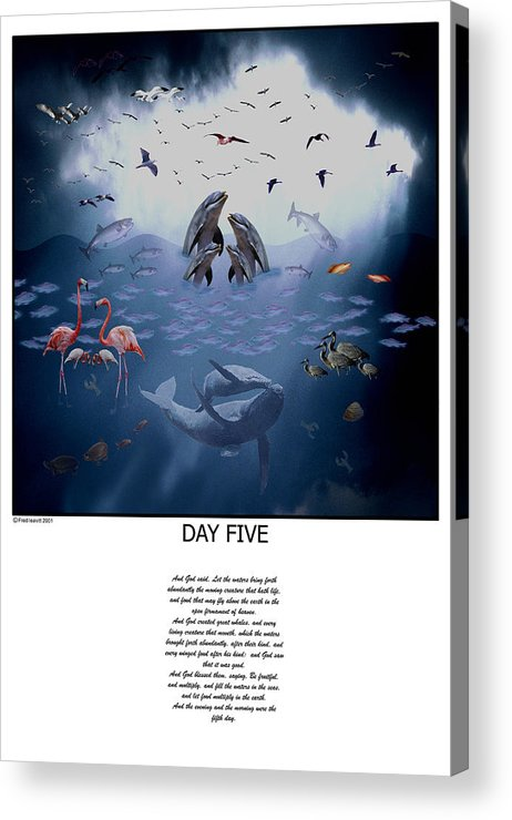 Seven Days Of Creation Acrylic Print featuring the digital art Day Five by Fred Leavitt