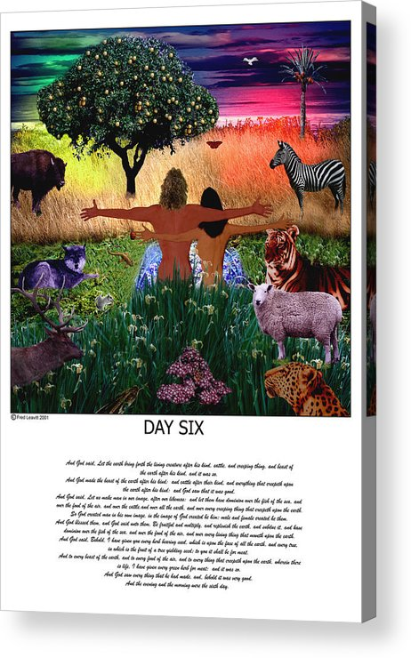 Seven Days Of Creation Acrylic Print featuring the digital art Day Six by Fred Leavitt