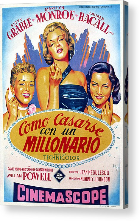 1950s Poster Art Acrylic Print featuring the photograph How To Marry A Millionaire, Betty by Everett
