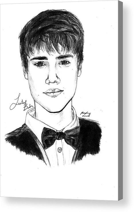 Justin Bieber Suit Drawing Acrylic Print featuring the drawing Justin Bieber Suit Drawing by Kenal Louis