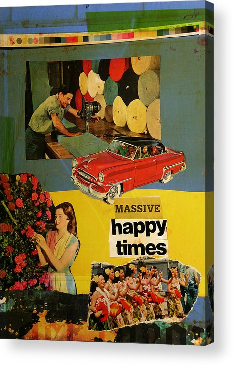 Collage Acrylic Print featuring the mixed media Massive Happy Times by Adam Kissel