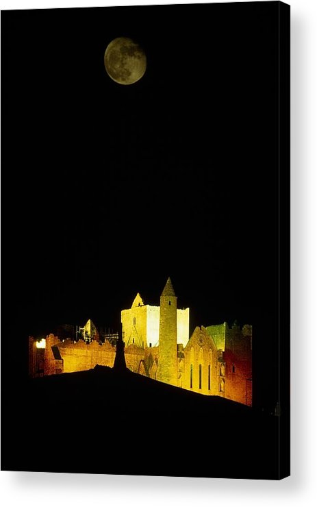 Cashel Town Acrylic Print featuring the photograph Moon Over Rock Of Cashel, Co Tipperary by The Irish Image Collection