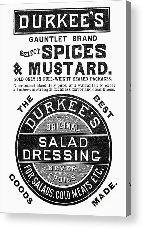 1887 Acrylic Print featuring the photograph Mustard Ad, 1889 by Granger