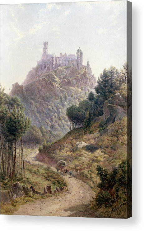 Fortress; Castle; Hilltop; Strategic Position; Forest; Palace; Road Acrylic Print featuring the painting Pina Cintra Summer Home Of The King Of Portugal by George Leonard Lewis