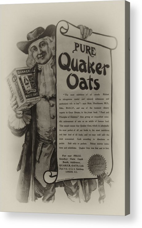 Pure Quaker Oates Acrylic Print featuring the photograph Pure Quaker Oates by Bill Cannon