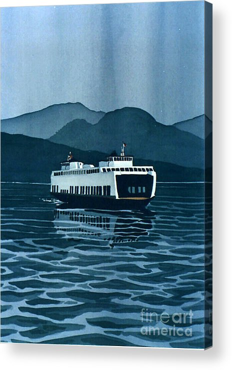 Washington Acrylic Print featuring the painting Rainy Ferry by Scott Nelson