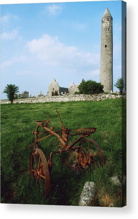 Cemetery Acrylic Print featuring the photograph Round Tower, Kilmacduagh Near Gort, Co by The Irish Image Collection