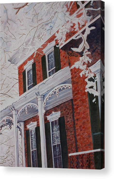 Historic Snowy Mansion Acrylic Print featuring the painting Snowy Yesteryear by Patsy Sharpe