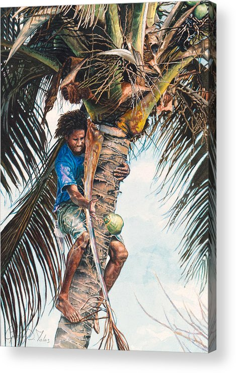 Tree Acrylic Print featuring the painting The Coconut Tree by Gregory Jules
