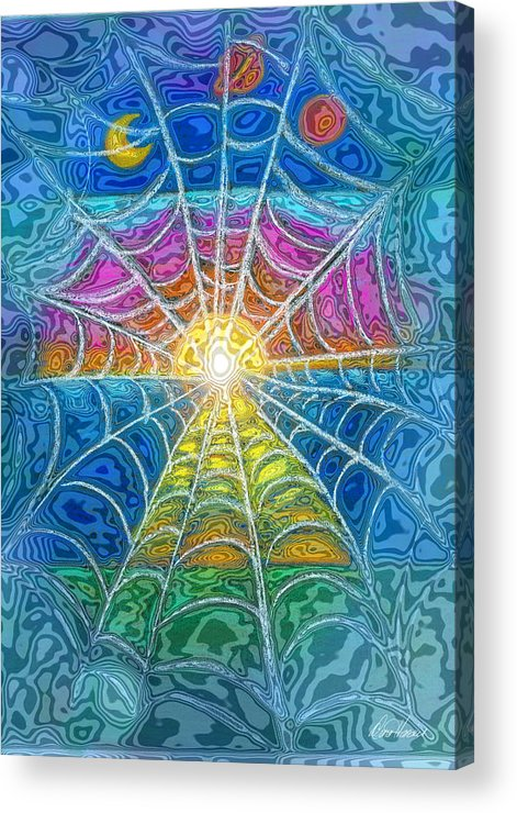 Web Acrylic Print featuring the digital art The Web Of Wyrd by Diana Haronis