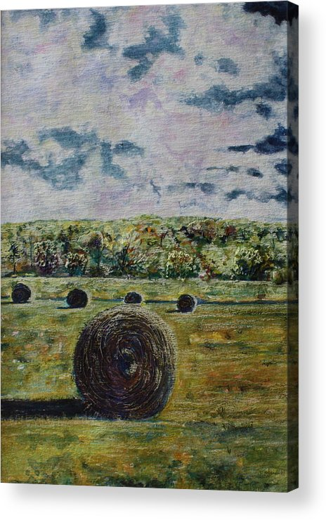 Turbulent Skies Acrylic Print featuring the painting Uncertain Skies by Patsy Sharpe
