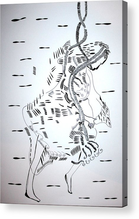 Jesus Acrylic Print featuring the drawing Ussua Dance - Sao Tome And Principe by Gloria Ssali