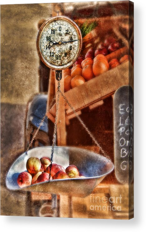 Scale Acrylic Print featuring the photograph Vintage Scale At Fruitstand by Jill Battaglia