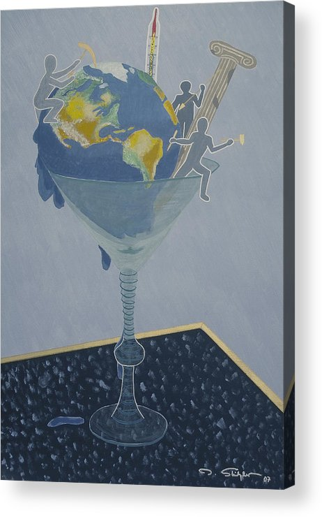 Earth Acrylic Print featuring the painting ... And Who Will Pay The Bill by Ingrid Stiehler