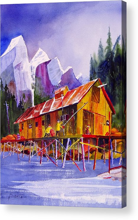 Mountains Acrylic Print featuring the painting Fishermans Dock by Buster Dight