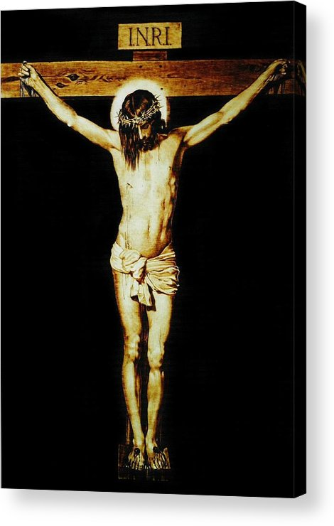 Dino Muradian Acrylic Print featuring the pyrography Christ On The Cross by Dino Muradian