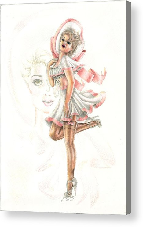 Face Acrylic Print featuring the drawing Flirtation In The Breeze by Scarlett Royal