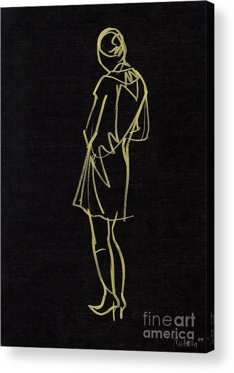 Minimal Acrylic Print featuring the drawing Girl On Black by Natoly Art