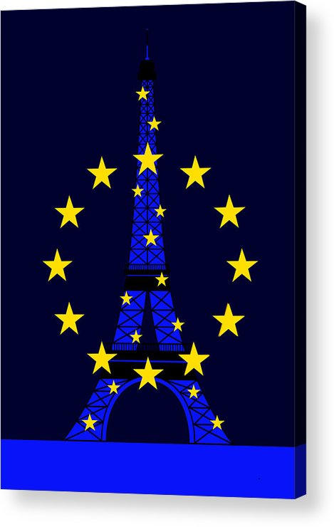 Tour Eiffel Acrylic Print featuring the digital art Inspired By The Eiffel Tower And The European Union by Asbjorn Lonvig