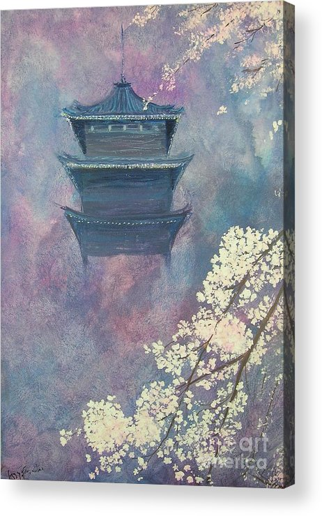 Landscape Japan Acrylic Print featuring the painting Japanese Spring Scene by Lizzy Forrester