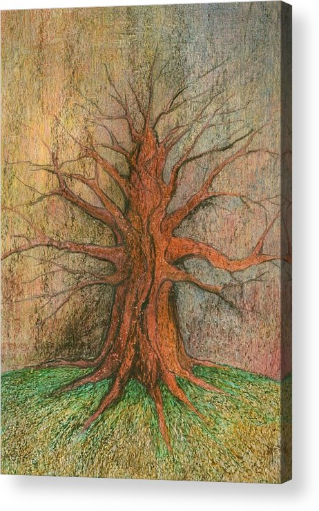 Colour Acrylic Print featuring the painting Old Tree by Wojtek Kowalski