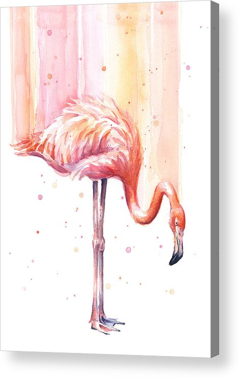 Pink Acrylic Print featuring the painting Pink Flamingo - Facing Right by Olga Shvartsur