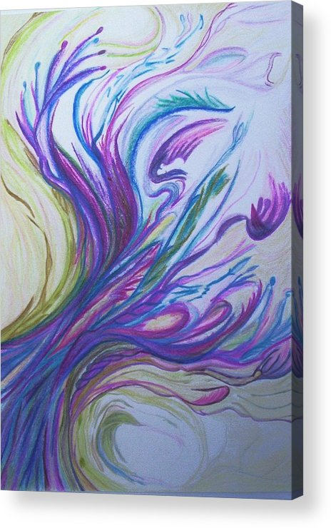 Abstract Acrylic Print featuring the painting Seaweedy by Suzanne Udell Levinger